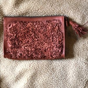 Anthropologie Clutch New Leather Tassel